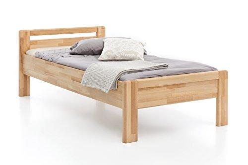 Woodlive Massivholz-Bett aus Kernbuche, als Seniorenbett geeignet, in Komforthöhe, geöltes Einzel- und Komfortbett mit Kopfteil (120 x 200 cm)