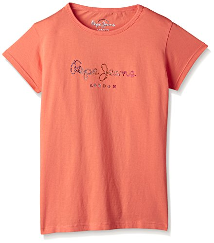 Pepe Jeans Girls' T-Shirt (CAROL K SS_Coral_8)  available at amazon for Rs.239