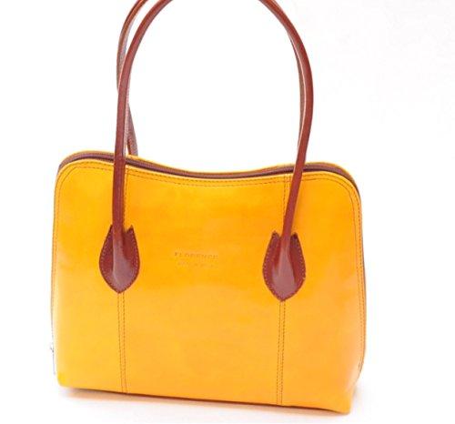 SUPERFLYBAGS Borsa a spalla o a mano in Vera Pelle Liscia e Lucida modello NICE made in Italy giallo+marrone