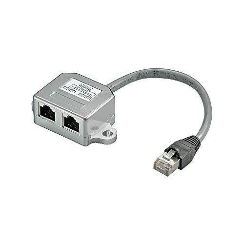 Wentronic Netzwerk Adapter (Cat 5 Ethernet und ISDN RJ45 Stecker auf 2X RJ45 Buchse) Silber Telefon-splitter