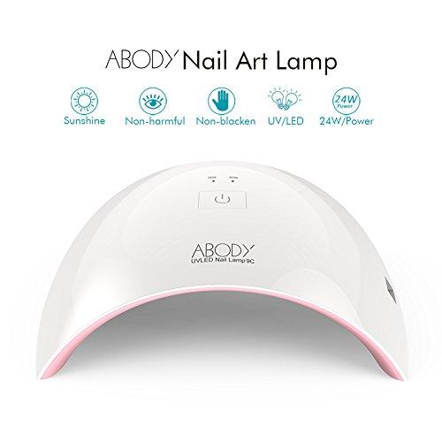 Abody Sèche-ongles LED Lampe UV SUN9C 24W Professionnelle Portable Séchoirs à Ongles Lumière Blanche Lampe à Polymériser Nail Art