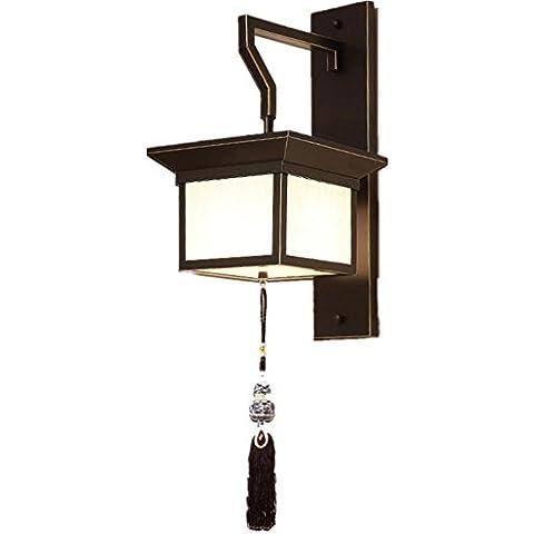 FWEFCloth botón pared lámpara té habitación habitación cabecera LED salón corredor Simple escalera iluminación
