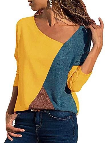 d3ff58b7284290 Minetom Casual Patchwork Farbblock Langarm T-Shirt Asymmetrischer V-Ausschnitt  Langarmshirt Tops Sweatshirt Tunika Top Pullover Bluse Oberteil Gelb DE 46