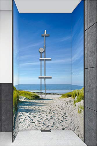 Artland Qualität I Duschrückwand Fliesenersatz - Bad Duschwand Motiv Landschaften Strand Fotografie Creme H8EZ Strand mit Sanddünen und Einem Weg zur See