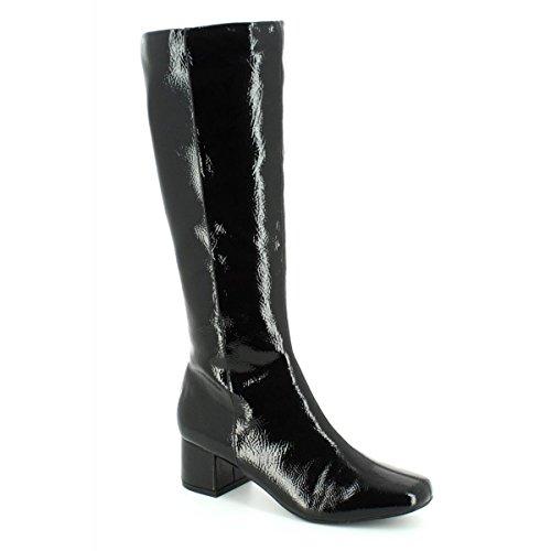 Lotus Vezalli Black Crinkle Shiny Knee-High Boots 6