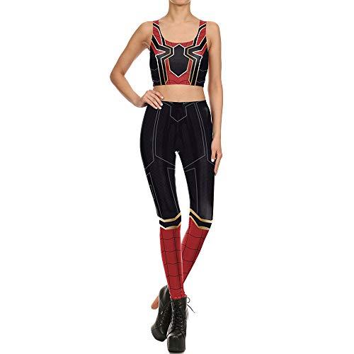 Cosplay Kostüm Frauen Red Spider Printed Weste Stretch Leggings Set Halloween Maskerade Kostüm Kleidung Ärmelloses Top und Strumpfhosen,A-XL - Stretch-spider