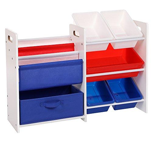 SONGMICS 2 Kinderregale in einem Bücherregal Spielzeugregal weißes Aufbewahrungsregal mit bunten Aufbewahrungsboxen spielzeug regal 87 x 60 x 26,5 cm (B x H x T) GKR66WT (Bücherregal Schiffe)
