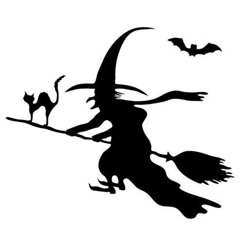 gossipboy Halloween Thema Dark Style Vinyl Wandtattoo schwarz–Fledermaus, Katze und Hexe einen Besen (44* 52cm)–Inspiriert Art Wand Aufkleber Wandbild für Wohnzimmer Home Halloween Atmosphäre Dekorationen Decor Szene, Layout (Halloween-dekoration Verkauf)