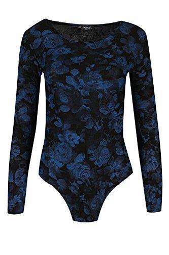 Be Jealous Damen Durchsichtig Body Anzug Damen Rundhals Tarnung Rosen Body Schwarz Blau Rose