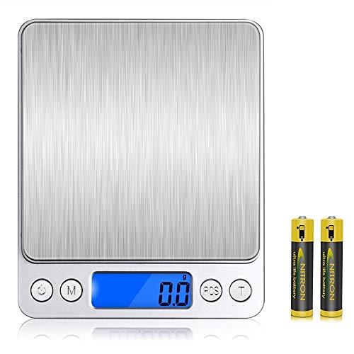 Bilancia da cucina digitale VersionTech Bilancia da cucina 6,6 lbs / 3kg con piattaforma in acciaio inox e ampio display LCD Bilancia da cucina Multifunzionale Argento Colore Elegante