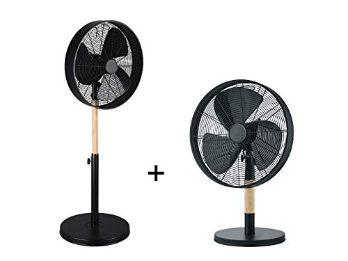 Juego de ventiladores de pie, altura 90 - 120,5 cm Ø 45 cm + ventilador de mesa altura 57 cm Ø45 cm...