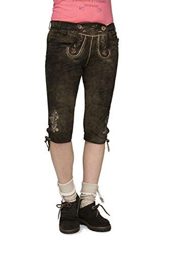 Stockerpoint - Damen Trachten Lederhose aus Ziegen Nappa Leder, Kniebund, Suzan, Größe:36;Farbe:Bison Antik