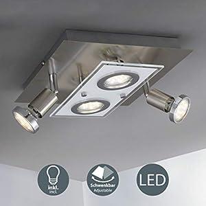 LED Deckenleuchte I Deckenlampe inkl. 4 x 3W 250lm Leuchtmittel GU10 I moderner Deckenstrahler I IP20