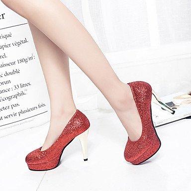 WSX&PLM Da donna-Tacchi-Casual-Comoda-A stiletto-Lustrini-Nero Rosa Rosso Argento red
