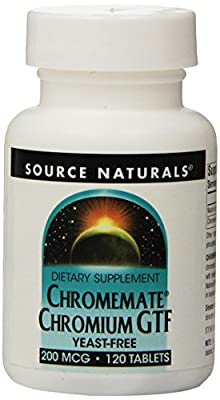 Source Naturals Chromemate Chromium GTF Yeast Free, 120 Tabs 200 MCG by Source Naturals
