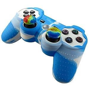 Pandaren® Silikon hülle skin für PS3 controller (blau + weiß) x 1 + thumb grip aufsätze x 2