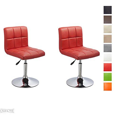2er Set Moderner Esszimmerstuhl Rot Kunstleder Küchenstuhl höhenverstellbar drehbar Stuhl Farbauswahl - TYP 451N