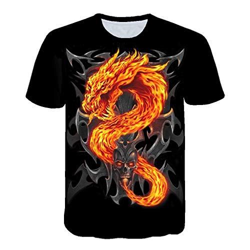 REALIKE Herren T-Shirt Kurzarmshirt 3D Drucken Oversize mit Rundhalsausschnitt Top Tall Tee lang geschnittenes Oberteile Farbmix Schwarz Basic für Männer bis Größe M-3XL -