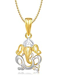 Meenaz Om Ganesha Ganpati God Pendants for Men Lockets Gold Plated Chain God Pendant in Amreican Diamond for Men & Women GP231