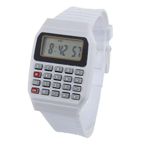 MMHStore Kinderuhrmädchenmädchenuhr der bunten Uhr des elektronischen Taschenrechners elektronische Multifunktion Datum Silikon-Uhr Geschenk (Weiß)