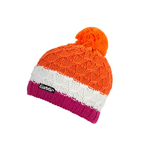 Eisbär Dilly Pompon MÜ Kids Mütze, deep pink/White/Dark orange/l, 55 EU