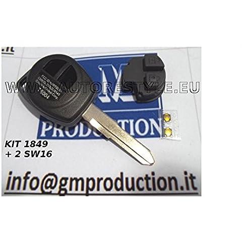 G.M. Production - S1849+TSU01+2SW16 - GUSCIO COVER E TASTI per telecomando Chiave OPEL FIAT SUZUKI +2 INTERRUTTORI Switch [controllare foto e dettagli compatibilità]