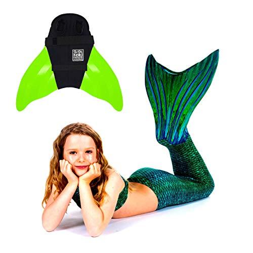 SUN TAILS Set Meerjungfrauen Kostüm Sirene Green Meerjungfrau Schwimmflossen Monofin Kinder Jugendliche Erwachsene M Lemon