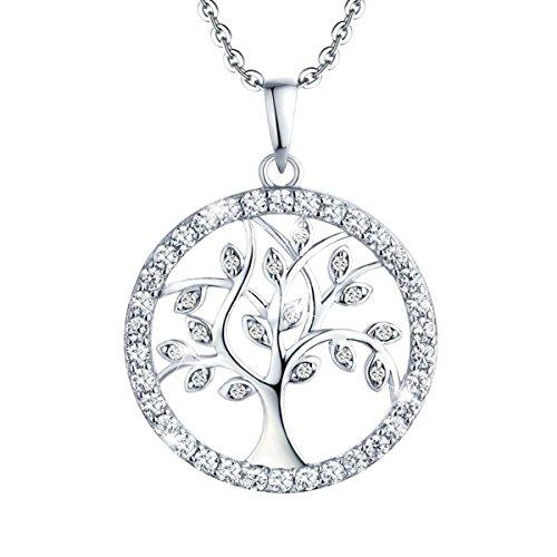 YL Damen Lebensbaum Anhänger mit Kette-925 Sterlingsilber Zirkonia Baum des Lebens Anhänger Halskette für Damen Mädchen Mutter, Kettenlänge 45-50 cm