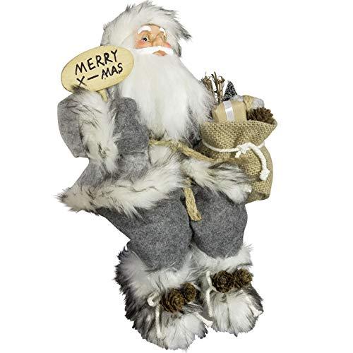 JEMIDI Weihnachtsmann Nikolaus Sitzend Deko Nikolaus Kantenhocker Figur Groß Weihnachts Deko (Weihnachtsmann Merry X Mas 45cm)
