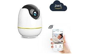 Wireless-IP-Kamera,Kompatibel mit Alexa Echo Show, 360-Grad-Wide View, 1080P HD Home WiFi Sicherheit Überwachungs kamera mit Bewegungs erkennung(Britischer Regulierungsadapter)