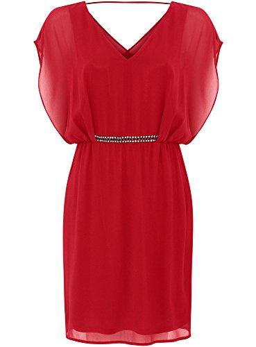 oodji Collection Femme Robe en Mousseline avec Ceinture Décorée Rouge (4500N)