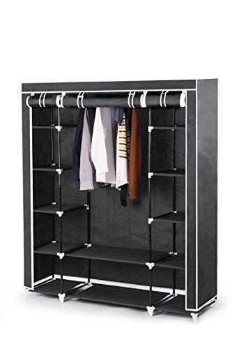 Best For Home XXL 175 x 150 x 45 cm Stoffschrank Kleiderschrank Faltschrank mit Kleiderstange CE-Zertifikat schwarz oder grau (Grau)