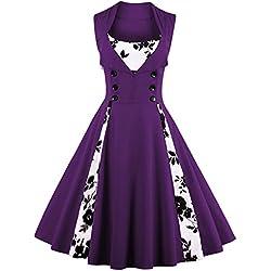 vkstar para Mujer 1950de Inspired botón Swing de noche Rockabilly cóctel fiesta de novia de fiesta de dama Lila-Blume