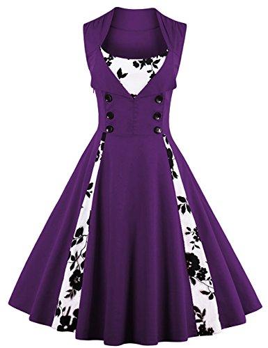 VKStarFemmes des Années 50 Elégantes Robe avec Boutons Vintage Rockabilly Swing Robe de Cocktail Violet Fleur S