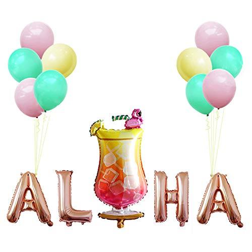 Suriz Luftballons und Folienballons Aloha Mylar Ballon und Flamingo Weinglas Hawaii Luau Party...