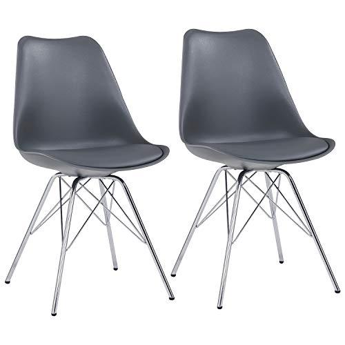 Duhome Esszimmerstuhl 2er Set Küchenstuhl Grau Kunststoff mit Sitzkissen Stuhl Vintage Design Retro Farbauswahl 518J