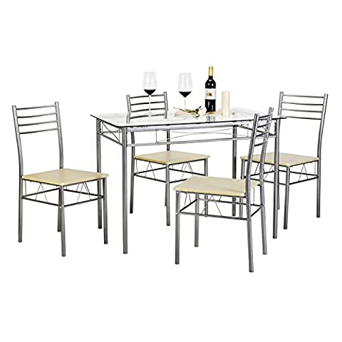 VECELO Glass Dining Room Table Sets and 4 Chairs - Silver