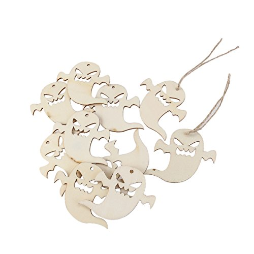 nuolux-10pcs-wooden-embellishments-with-string-halloween-decoration-snicker-ghost-pattern