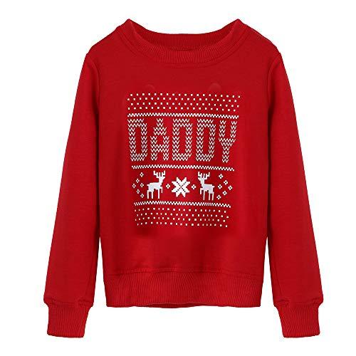 f825855881197 SANFASHION Famille Assortiment Homme Femme Bébé Wapiti De Noël Pyjamas  Ensemble Manche Longue Vêtement De Nuit Top Pantalon (Rouge Papa 2,XXL)