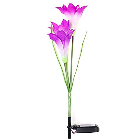 Solar LED Garden Lights Purple Lily Flower Lawn Lamp 7 Color Changing Night Lamp