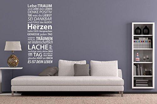Wandtattoo Wandbanner Lebe deinen Traum Nr 4 Wohnzimmer Flur Wandsprüche Wanddeko Dekoideen Größe 50×116