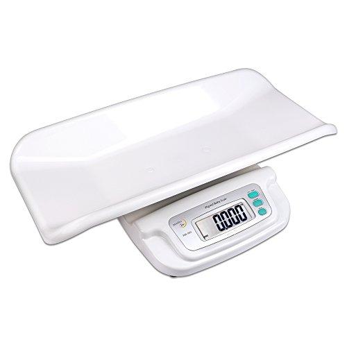 Báscula para bebés de hasta 20kg con bandeja. Tamaño: 55cm x 34cm x 8cm. Gran indicador led. Precisión +/-5g. Función de apagado automático y tara. Funciona con pilas (no incluidas, 4x AA).