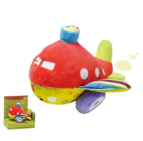 Stoffspielzeug in Plüsch, Stofftier Flugzeug mit Rassel und kleine Hupe