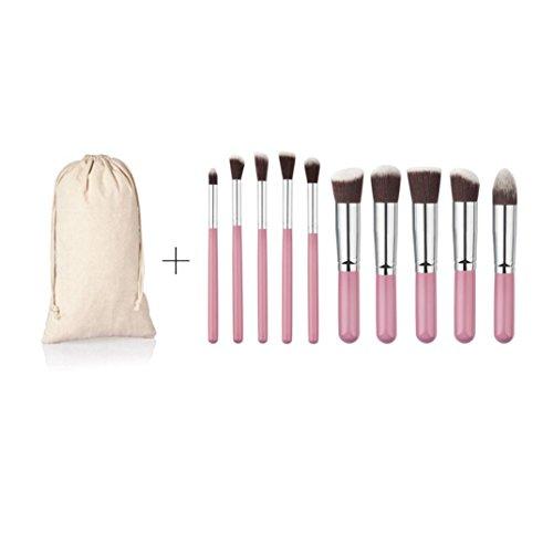 Pinceau Maquillage BZLine, 10Pcs Pinceaux Professionnel & Trousse Cosmétique pour les Poudres, Anticernes, Contours, Fonds de Teints et Eyeliner - Pink