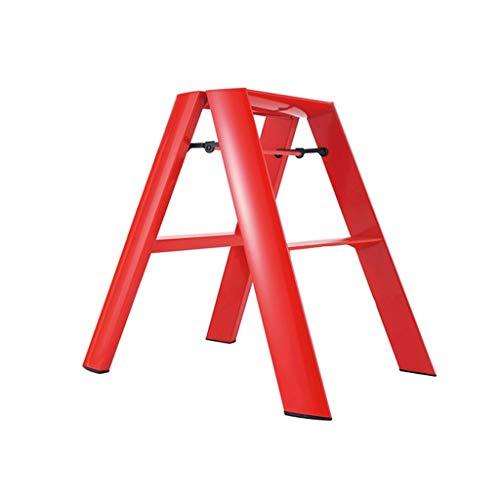 WZ-Klappstufen Premium 2 Schritt Rutschfeste Leiter Küche Hocker Faltbare Trittleiter Tragbare Home Sicherheit Leitern 100 kg Kapazität (rot)
