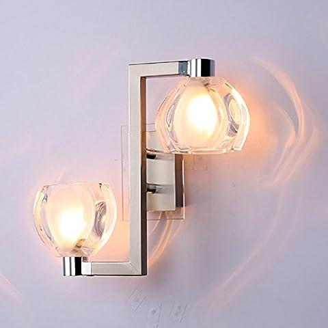 Maniny Moderne Edelstahl Kristall Wandleuchte Schlafzimmer Wohnzimmer Korridor Einzel Doppelkopf Wandleuchten , a