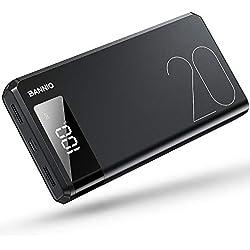 BANNIO Powerbank 20000mAh,Ultra Capacidad Bateria Externa Power Bank con 2 Entrada y 2 Salida USB y Pantalla LCD,Bateria Portatil para Movil Compatible con Móviles Inteligentes y Tabletas y Más,Negro