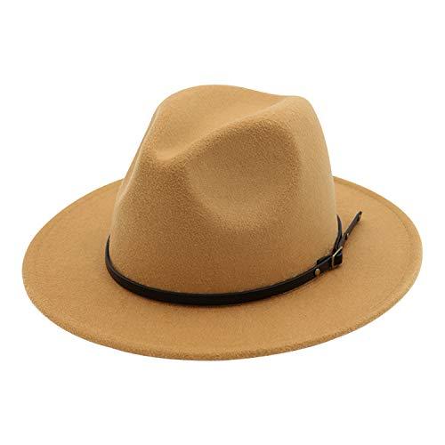 DRESHOW Mujeres Hebilla De Cinturón Sombrero De Fedora Fieltro Vintage Sombrero De Panamá Hebilla Gorra De Playa Sombrero Para El Sol UPF 50+