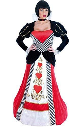 Deluxe Kostüm Übergröße Alice - Fancy Me Damen Deluxe Königin der Herzen Alice im Wunderland lang Länge Geringelt Saum Halloween büchertag Märchen Kostüm Kleid Outfit UK 6-26 Übergröße - Rot/schwarz, UK 16-18