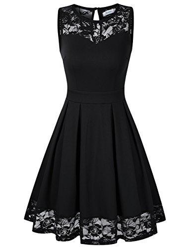 KoJooin Damen Elegant Kleider Spitzenkleid Ohne Arm Cocktailkleid Knielang Rockabilly Kleid Schwarz S
